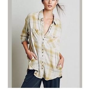 Free People Double Dip Flannel Button Down Yellow